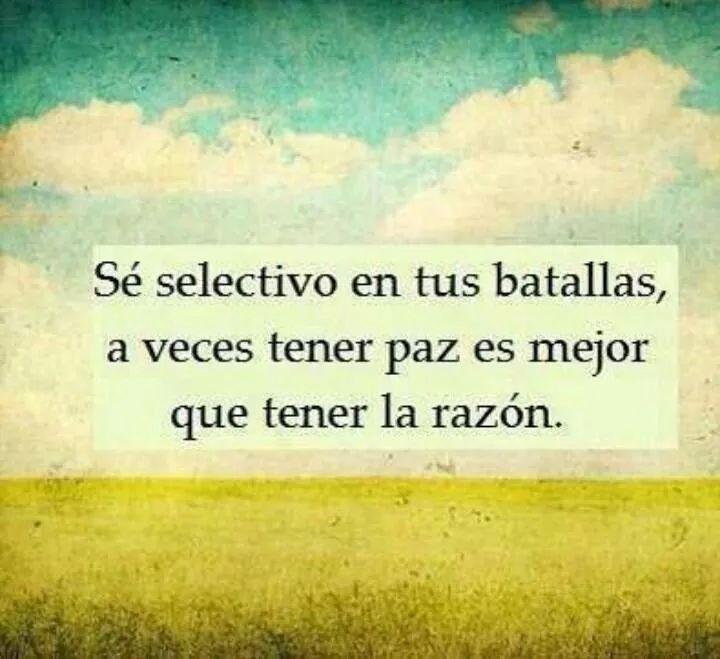 se selectivo en tus batallas, a veces tener paz es mejor que tener la razon