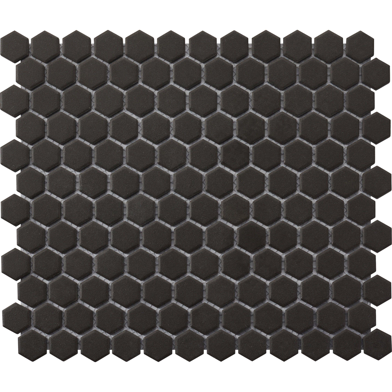 Mosaique Sol Et Mur Hexagon Noir 30 X 26 Cm Artens Carreaux Mosaique Sol Et Mur Et Carreau