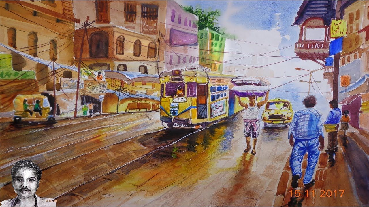 Watercolor Landscape Painting A Busy City Drawing Watercolor Landscape Paintings City Drawing Watercolor Landscape