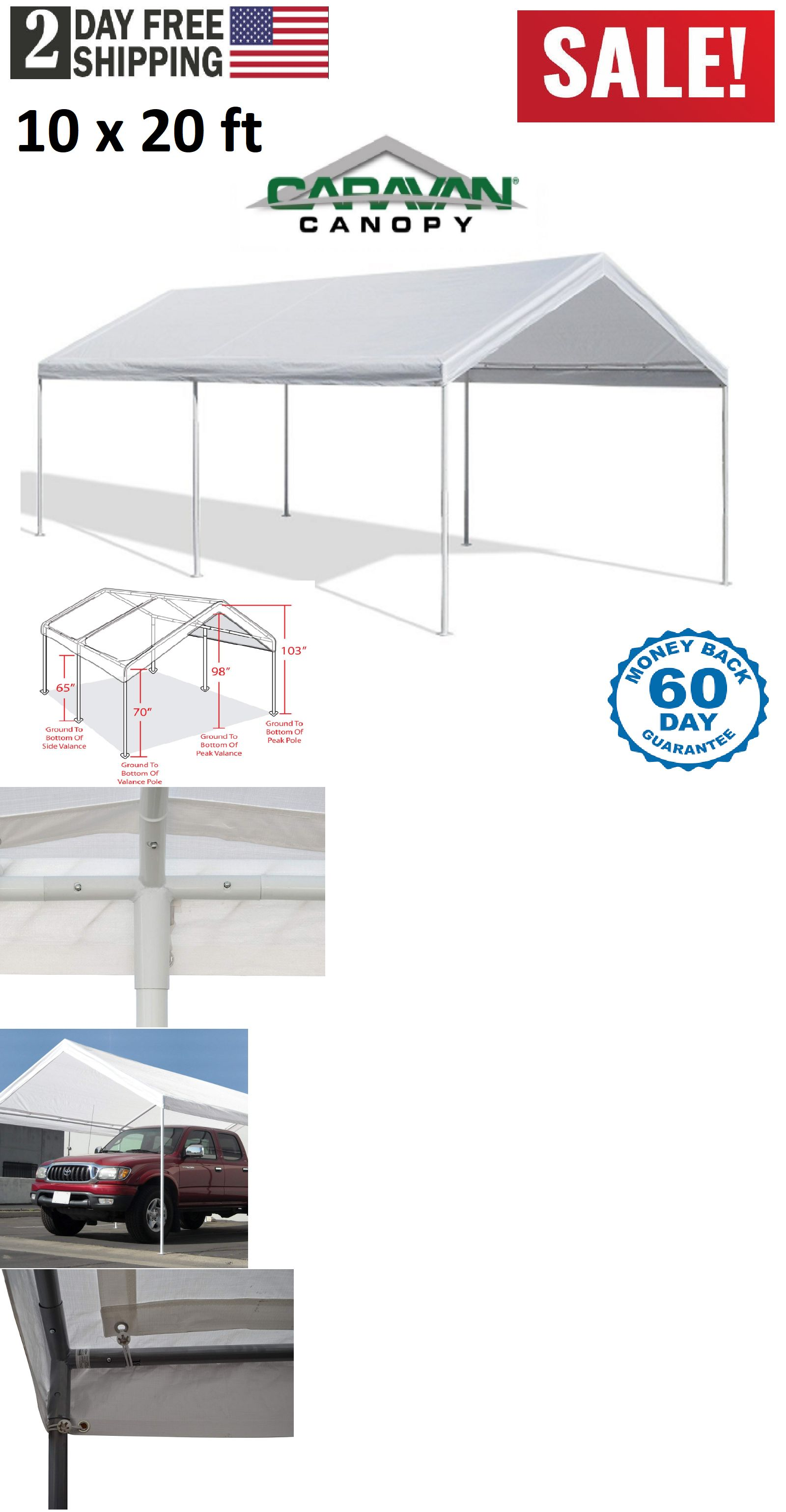Awnings And Canopies 180992 White Heavy Duty Canopy Tent 10x20 Ft Steel Carport Portable Car Shelter 6 Legs Buy It N Portable Gazebo Canopy Tent Canopy