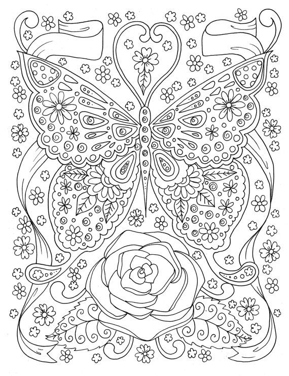 Butterfly Coloring page Adult Coloring Book Digital Coloring Page ...