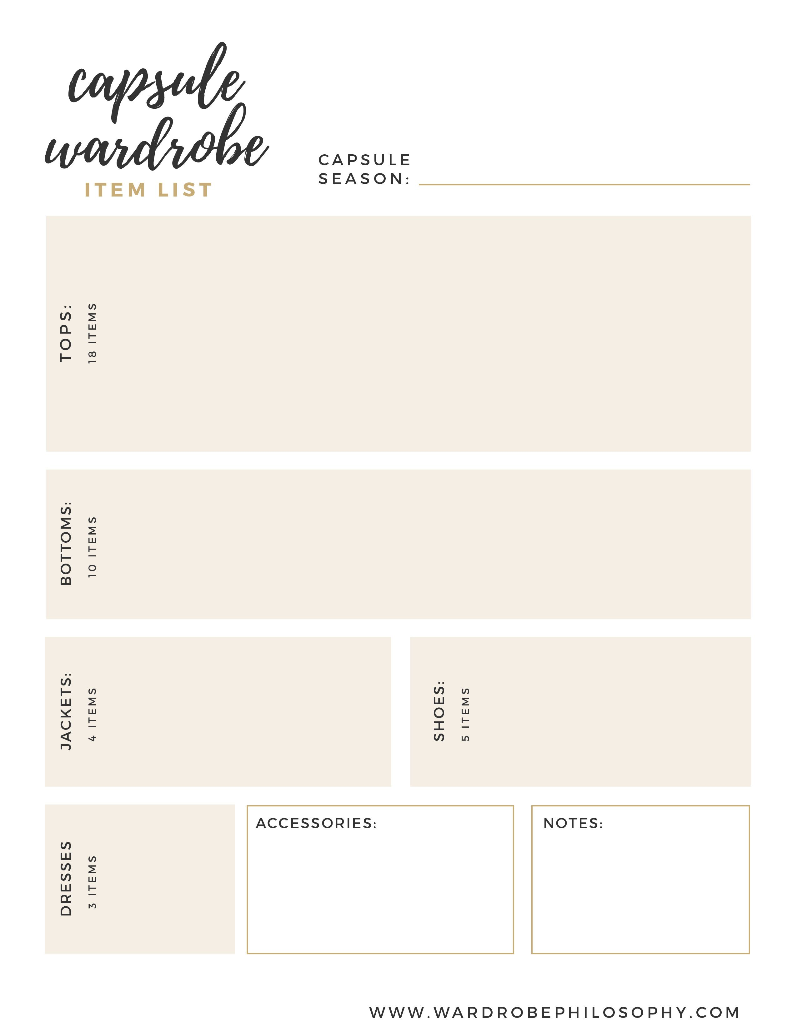 The Capsule Wardrobe Wardrobe List Want To Have A Capsule