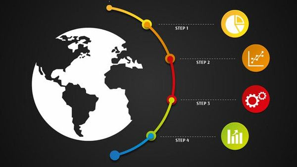 Colorful business Prezi template with the globe and some circles
