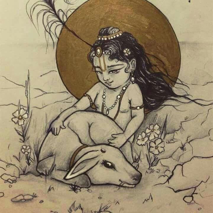 Pin By Lakshmi Suresh Iyer On Krishna Sketch Painting Indian Art Krishna Painting