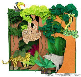 Rainforest Habitat Diorama craft Rainforest diorama