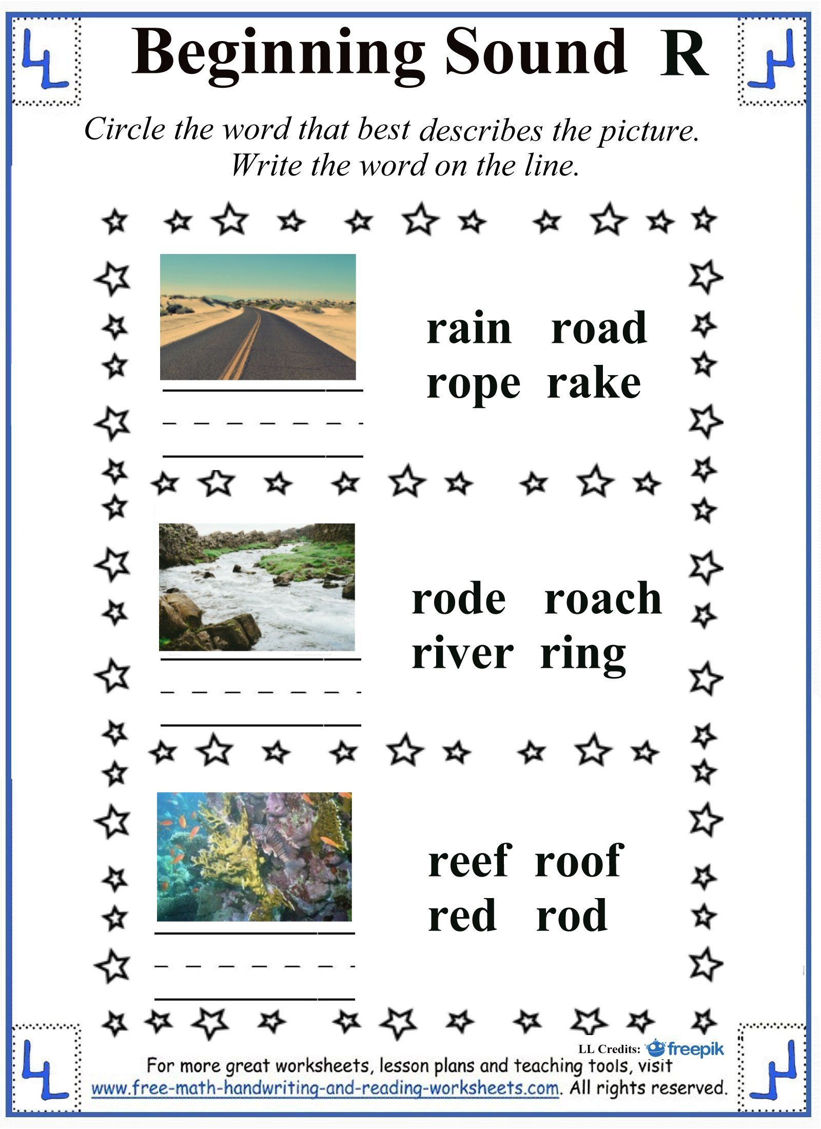 Beginning Sound Letter R Worksheets