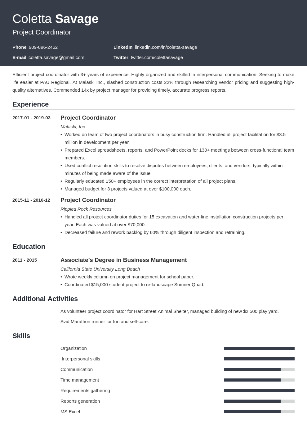 project coordinator resume example template influx in 2020