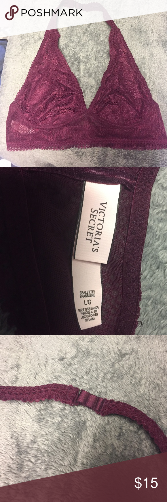 Victoria's Secret Halter Bralette Brand new, never worn burgundy bralette. No tags because I bought online. Not padded and very comfortable. Victoria's Secret Intimates & Sleepwear Bras