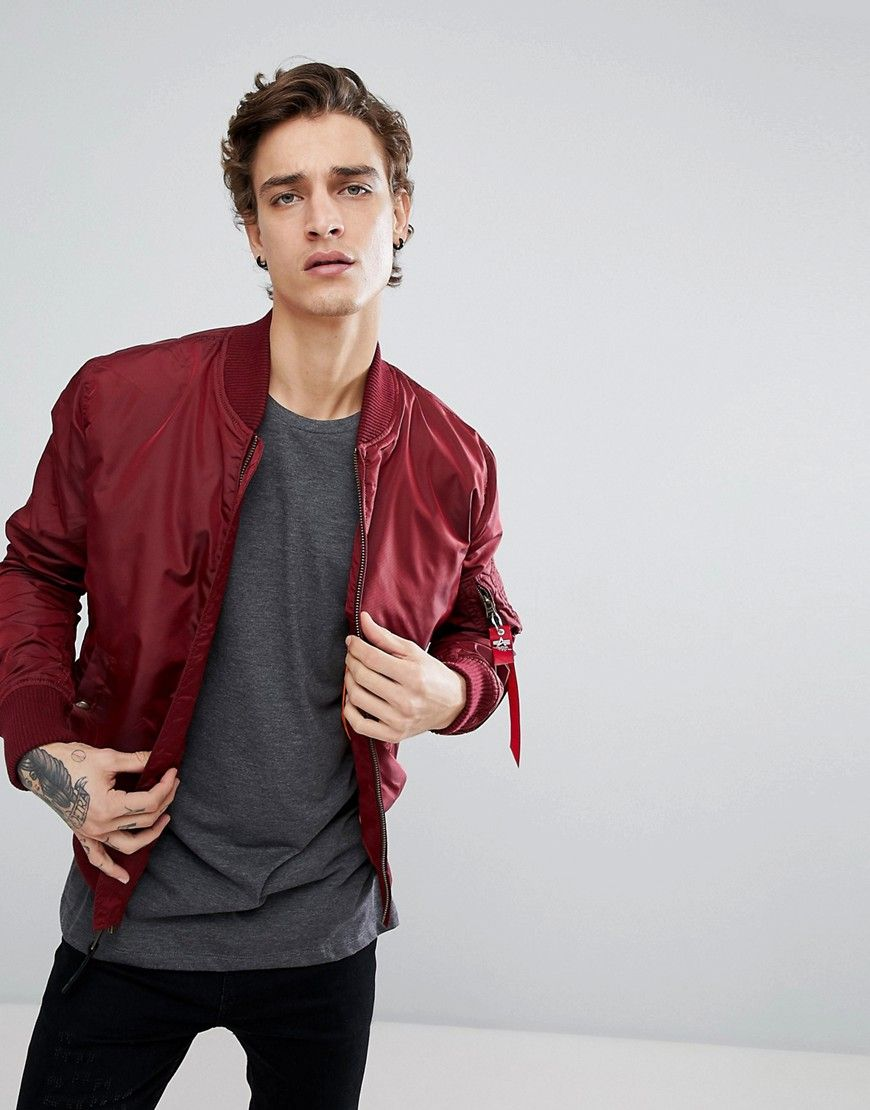 6657c439e36b75 ALPHA INDUSTRIES MA-1 TT BOMBER JACKET SLIM FIT IN BURGUNDY - RED.   alphaindustries  cloth
