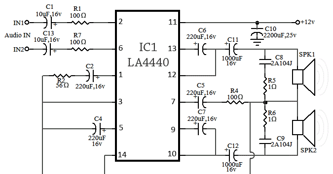 la4440 amplifier circuit