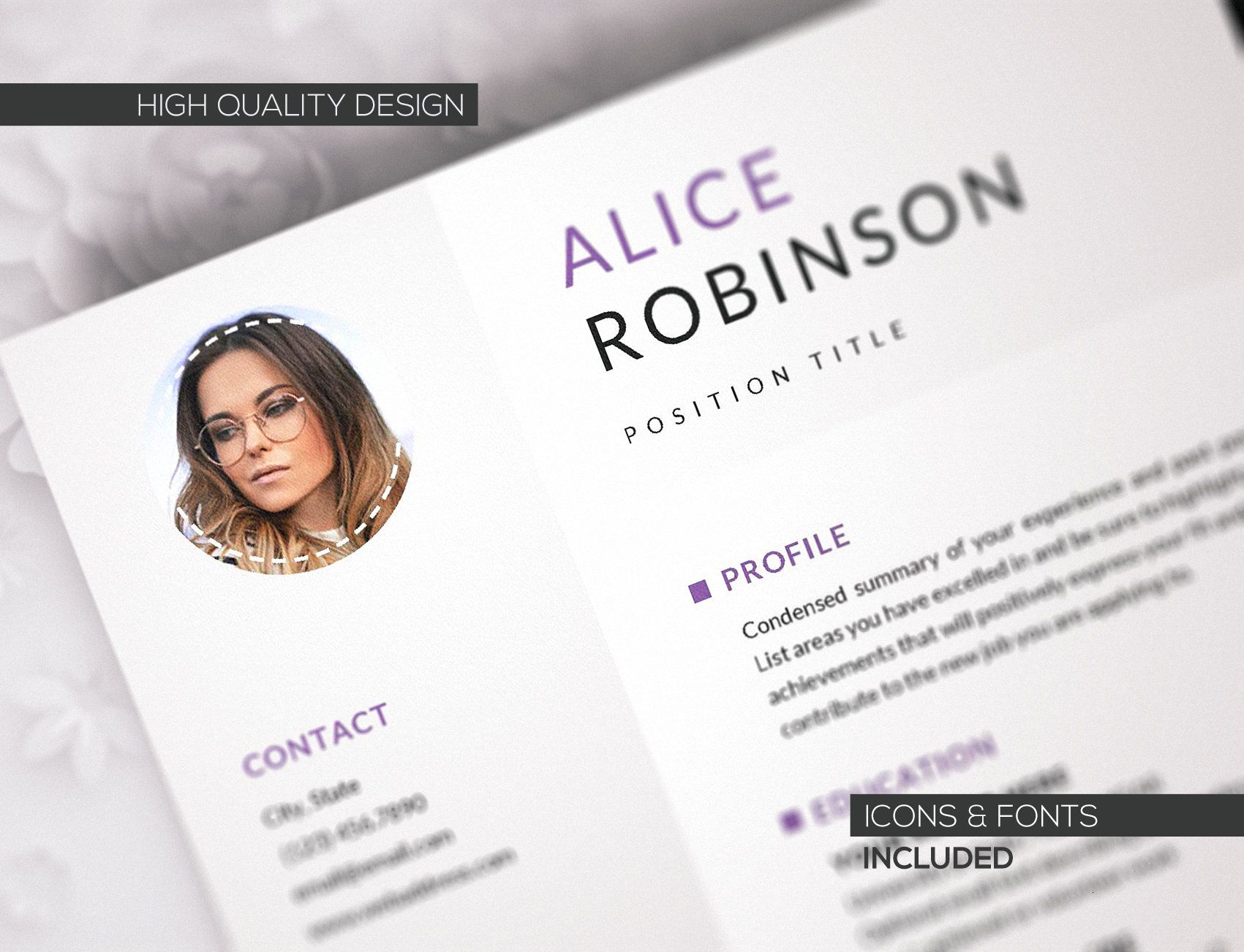 Professional Resume Template Modern Photo Creative CV
