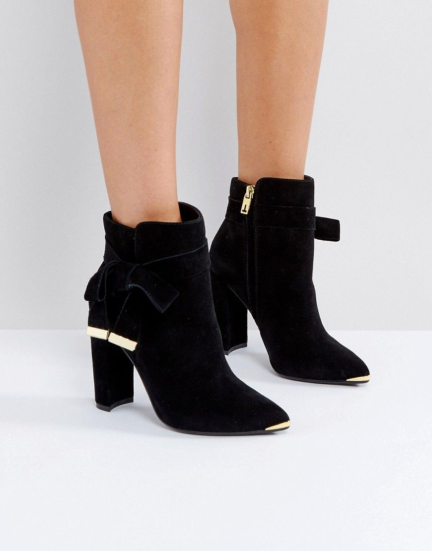 458b2230d97 Ted Baker Sailly Tie Up Black Suede Heeled Ankle Boots - Black ...