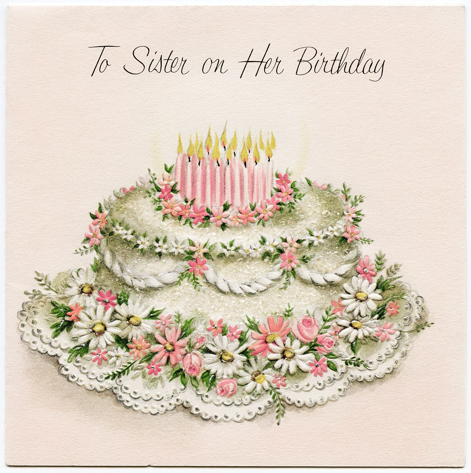 Vintage Cards Free Free Vintage Sister Birthday Greeting Card