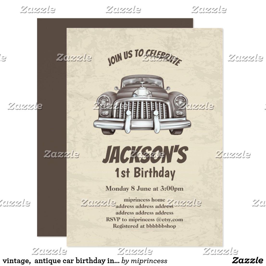Vintage, antique car birthday invitation | invitation | Pinterest ...