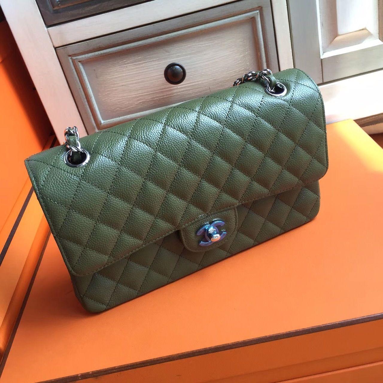 Chanel Khaki GreenCaviar Leather Classic Flap Bag - Bella Vita Moda   chanelwoc  chanelparis   788ccae04cde9