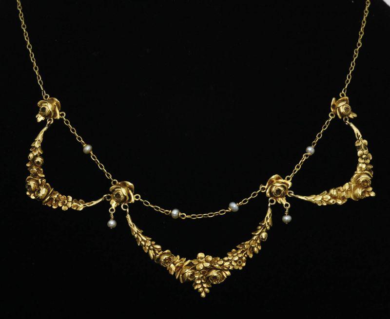 アンティークジュエリー ペンダント ネックレス アールヌーヴォー ゴールドネックレス 天然真珠