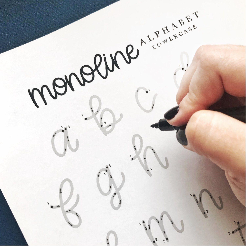 Free Practice Sheets Monoline Lowercase Alphabet