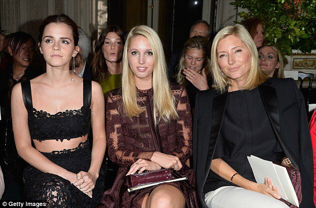 Emma Watson takes in the Valentino show with Princess Maria Olympia and Crown Princess Marie Chantal of Greece