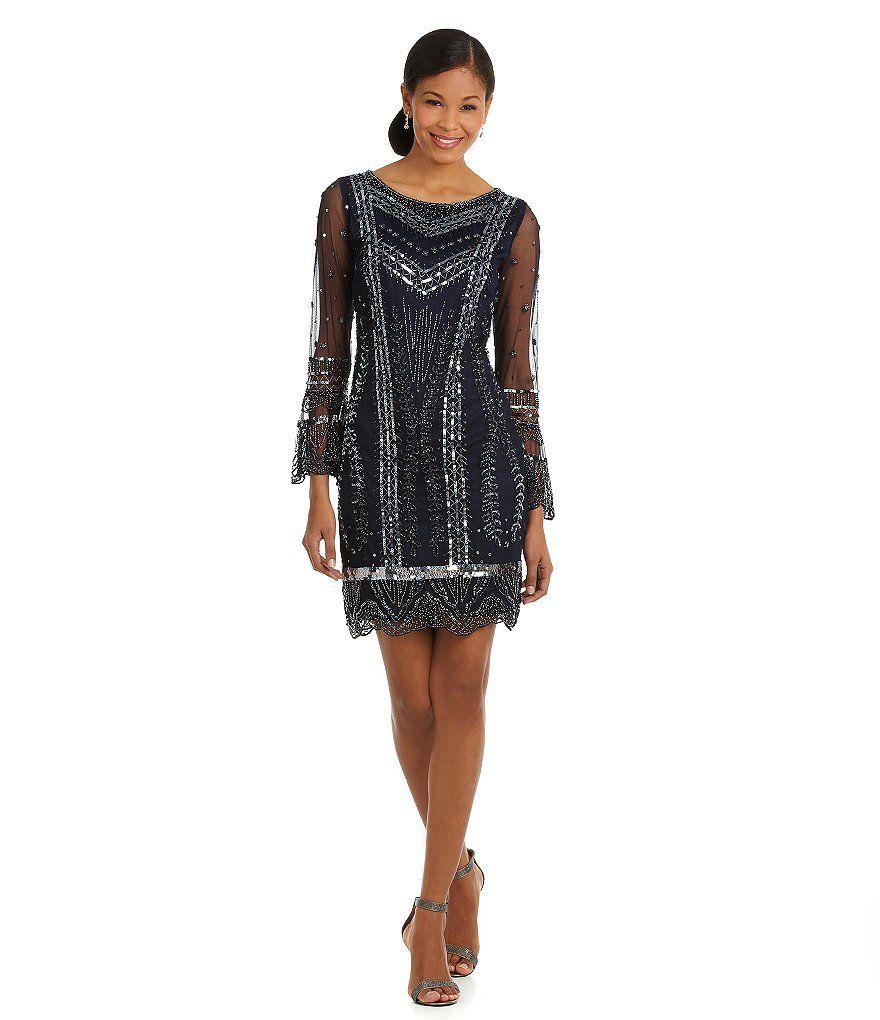 6dc5c870821 Pisarro Nights Beaded Bell-Sleeve Sheath Dress