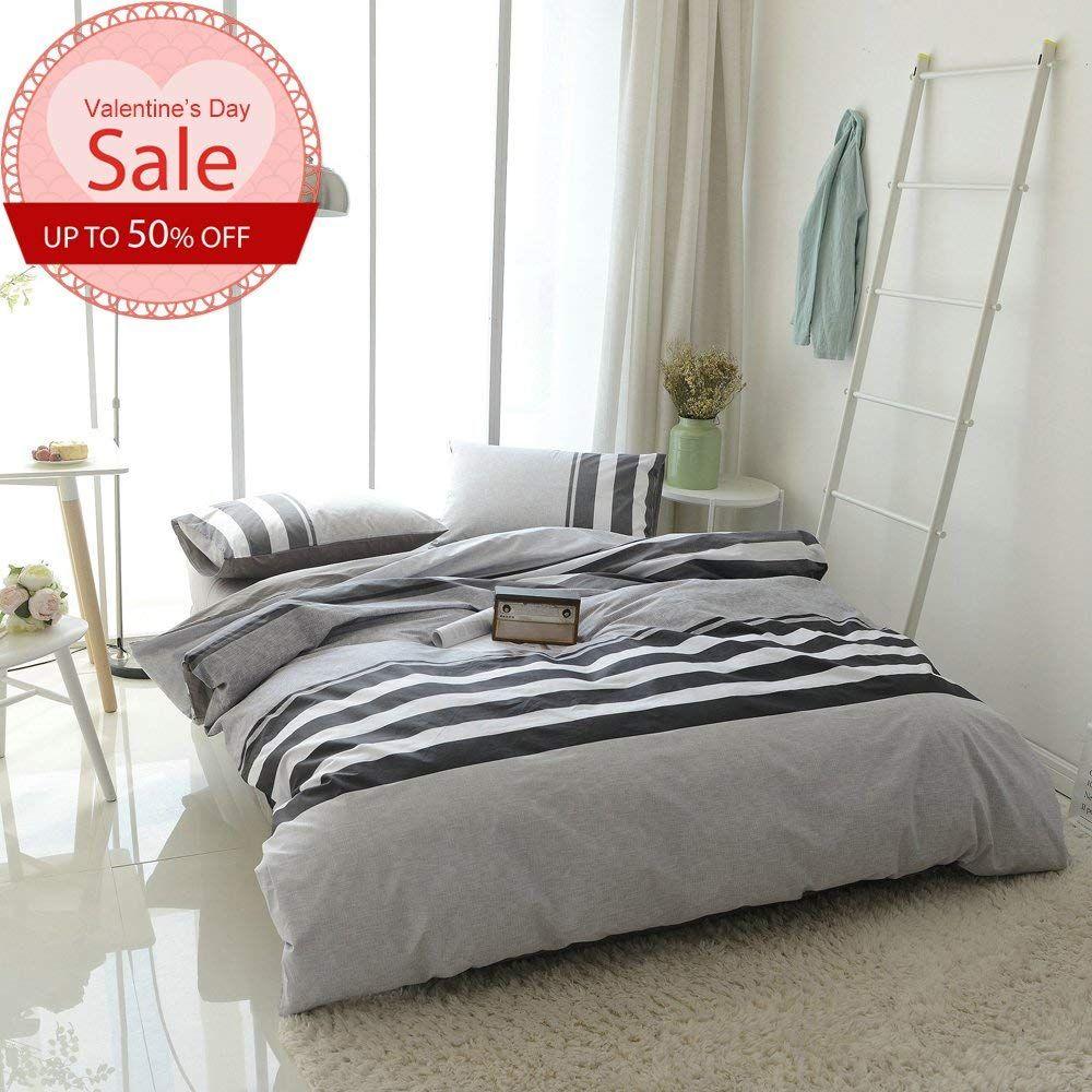 Modern Striped Duvet Cover Set Queen Soft 100 Cotton