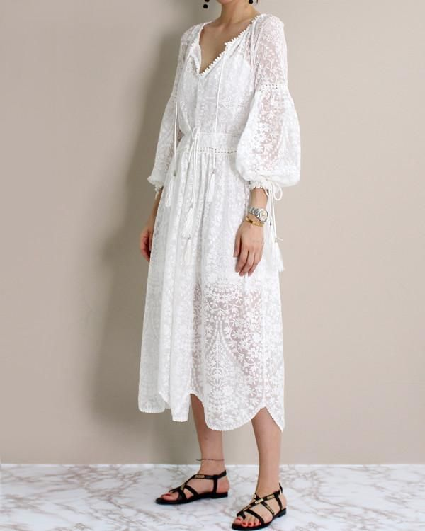 FLORAL EMBROIDERED SCALLOP DRESS – MINUSEY