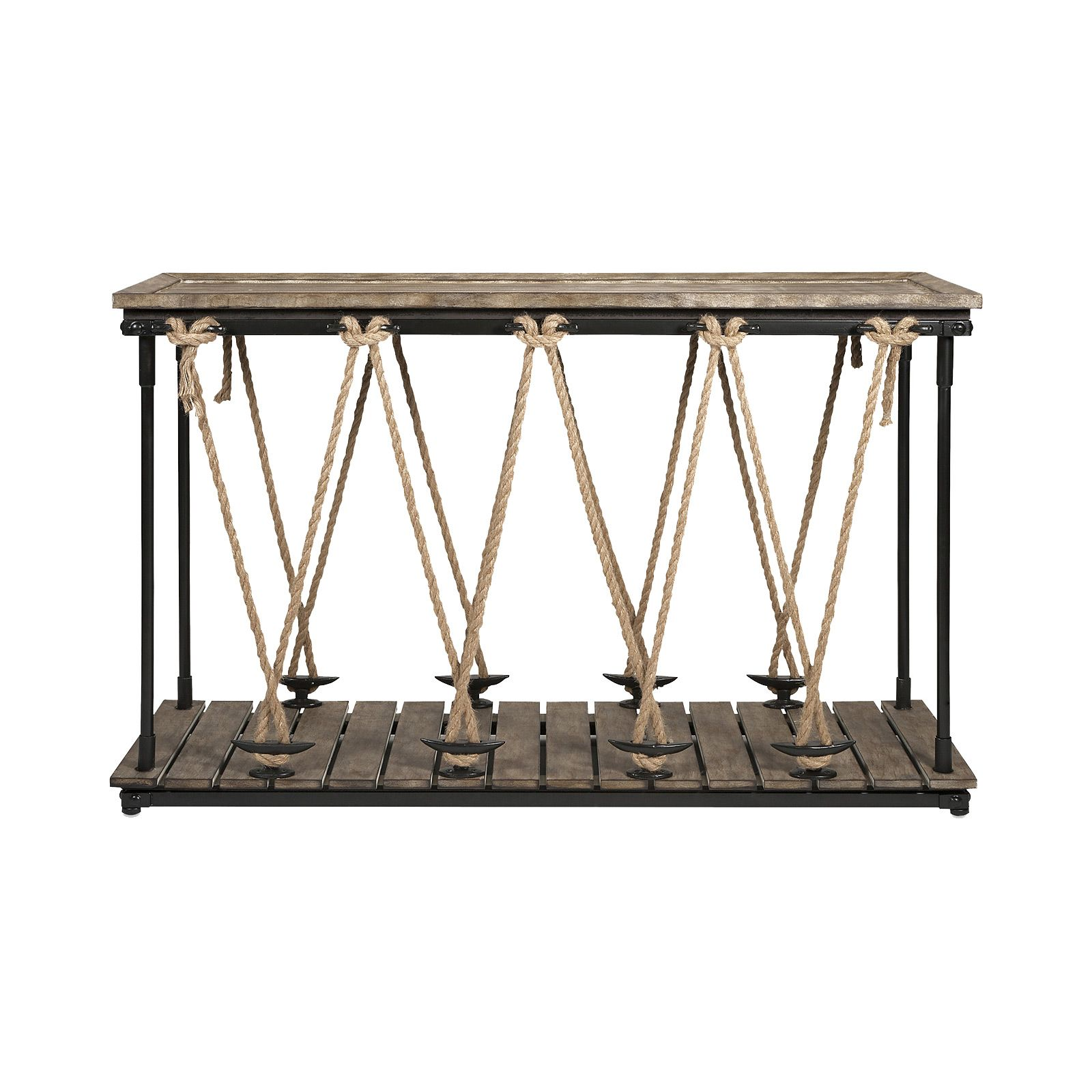 Whether youre shooting for a nautical dcor theme or just fancy astern rope console table ahoy coastal chic astern rope console table with glass topped console and eye catching rope detail is perfect for your nautical geotapseo Images