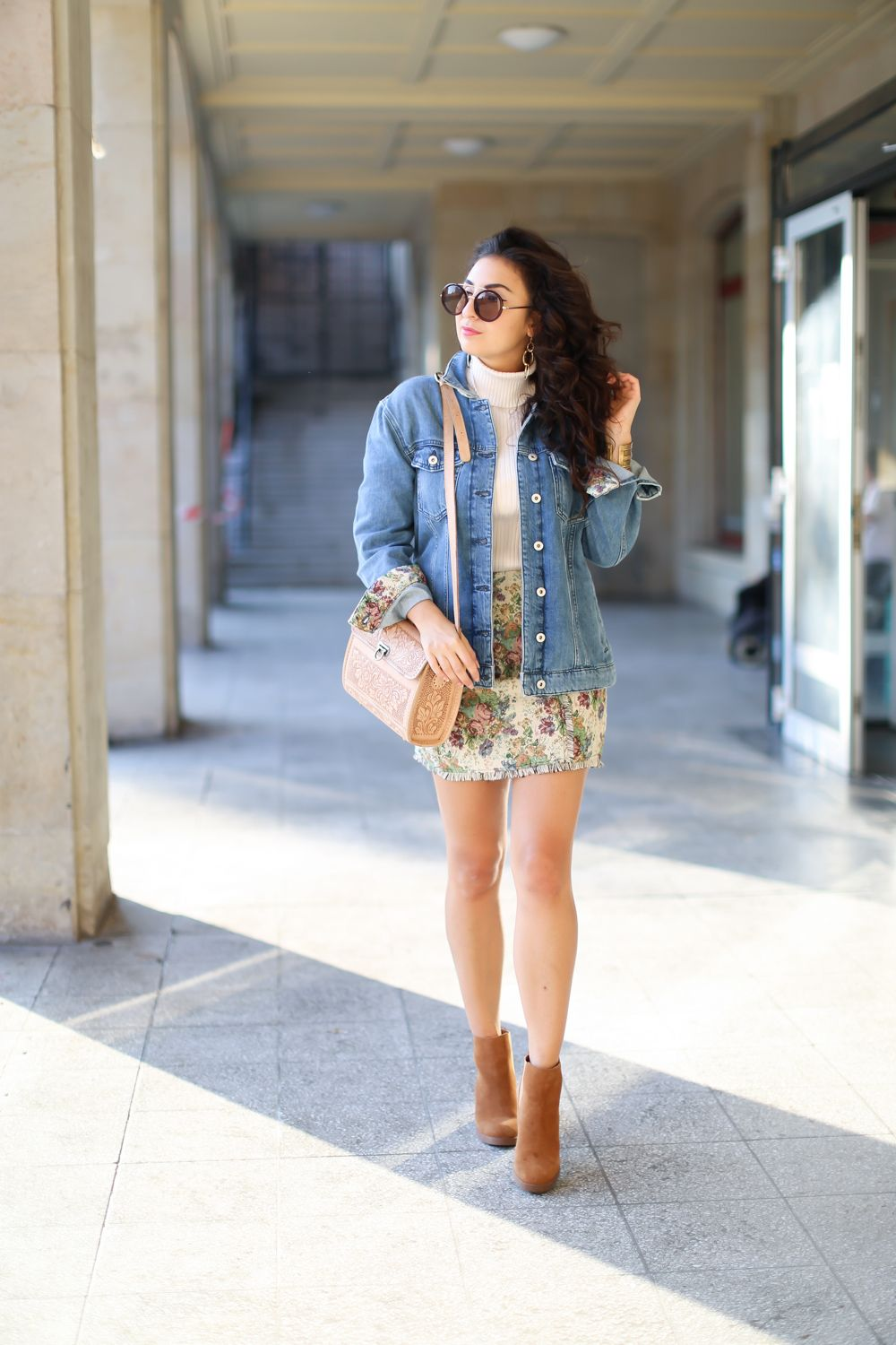 fc44af50ec Matching Mini Skirt and Denim Jacket esprit outfit suede boots autumn look  fall style streetstyle jeansjacke minirock herbst fashionblogger mode blog  ...