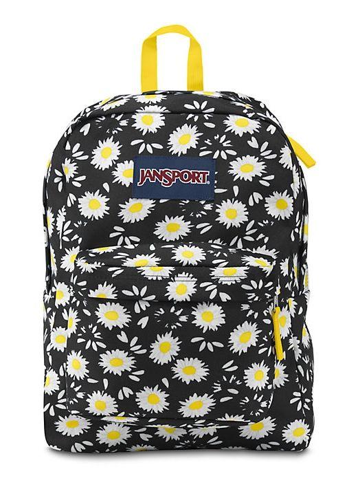 The new JanSport SuperBreak Backpack in Black Lucky Daisy 5338c2725569d