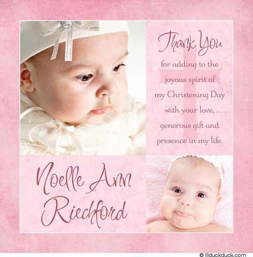 Modern Girl Baptism Thank You Card Two Photo Pink Baby