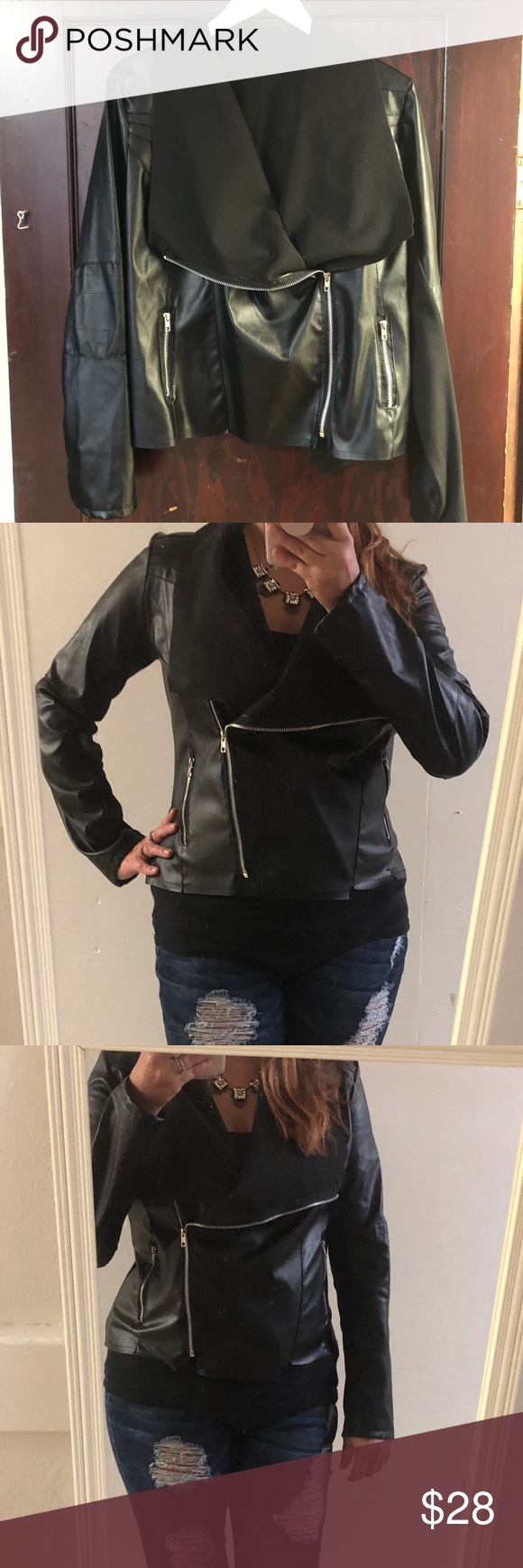Faux Leather Moto Jacket Very thin, light weight black