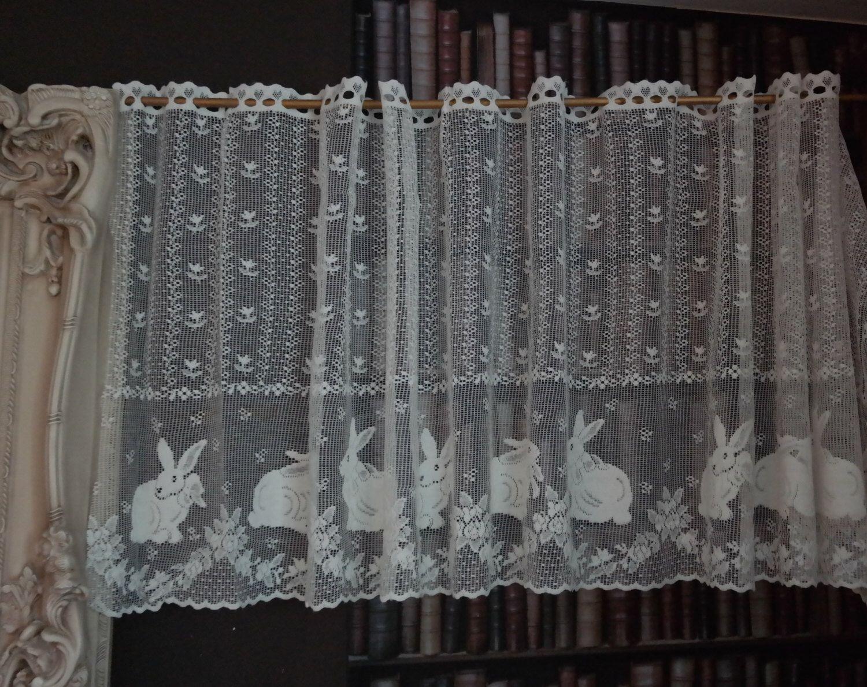 Vintage Bunny Rabbits Cotton Cafe Curtain Nottingham Lace Valance Brise Bise Sold Per Metre Yard In 2020 Lace Valances Cafe Curtains Lace Curtains