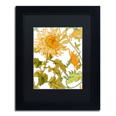 "Trademark Art 'Autumn Garden I' by Color Bakery Framed Graphic Art Size: 14"" H x 11"" W x 0.5"" D, Mat Color: Black"