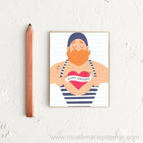 Happy Birthday Card Sailor Card Funny By Nicolemariepaperie