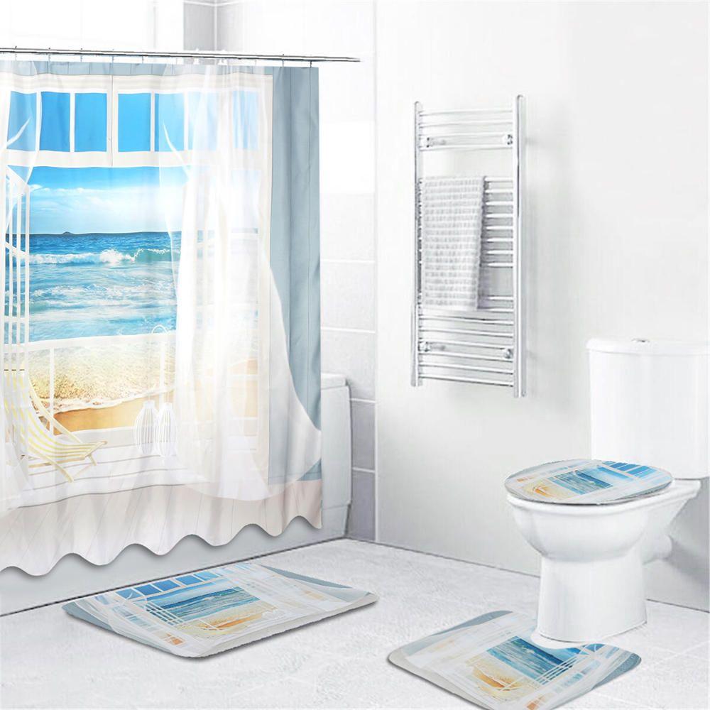 4pcs Bathroom Window Shower Curtain Set Beach Print Patent Prints