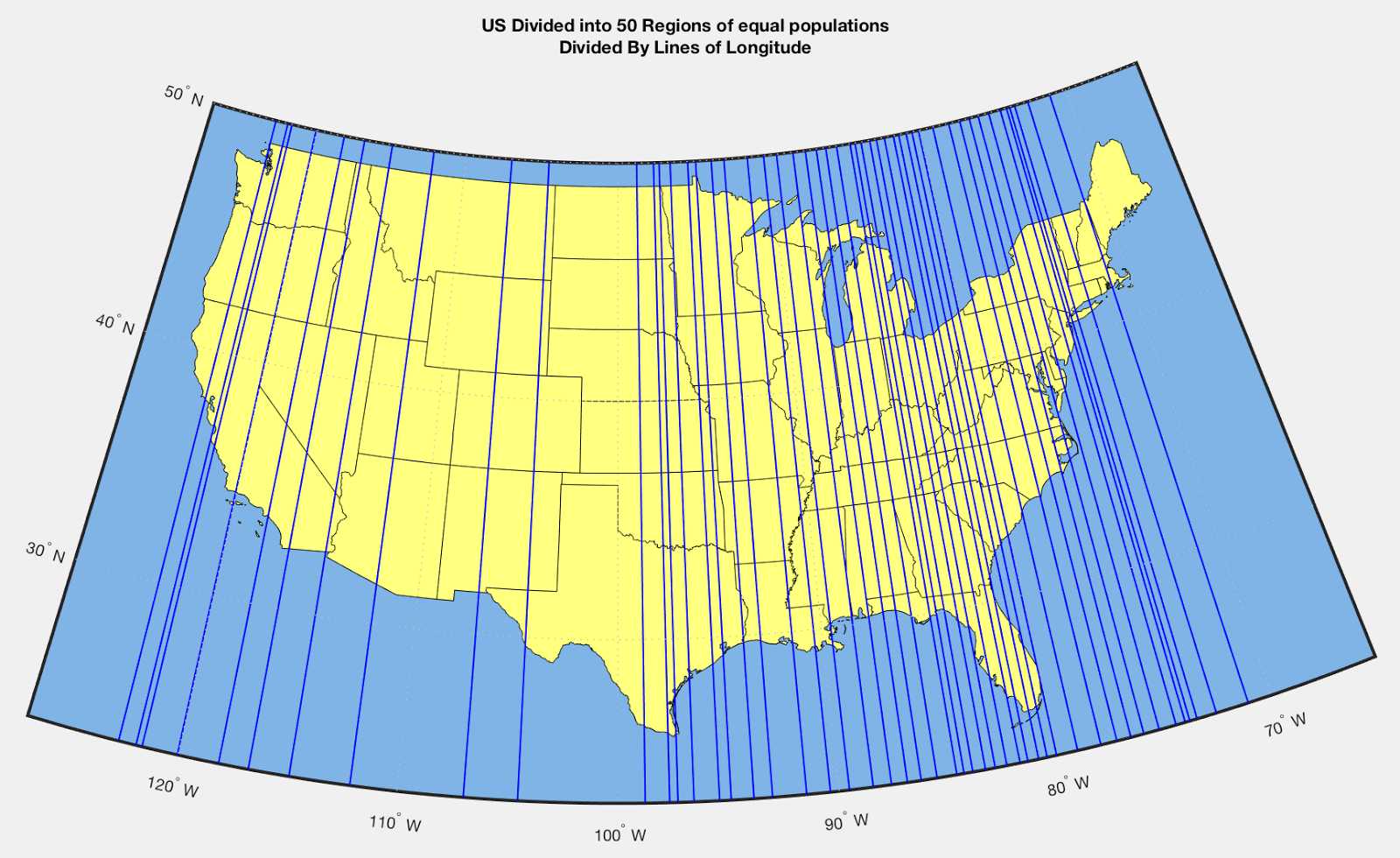 United States Map Divided Into Regions.United States Divided Into 50 Regions Of Equal Population Divided By