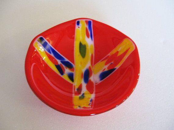 Fused Gl Bowl Peace Sign Decorative Dish