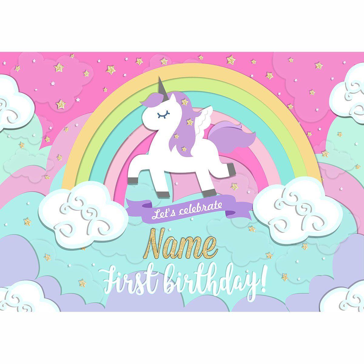 Unicorn Backdrop Princesse Banner Unicorn Rainbow 1st Birthday