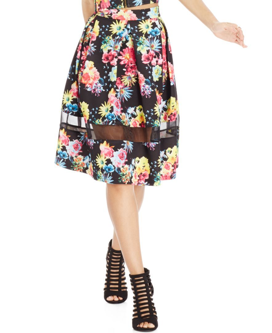 Say What? Juniors' Mesh-Inset Floral A-Line Skirt