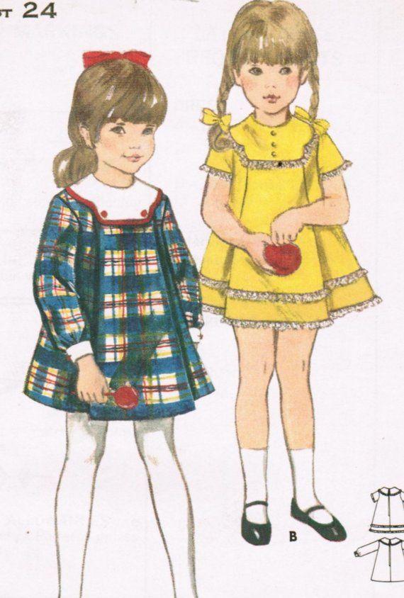 1960s Butterick 3808 Vintage Sewing Pattern Girls Trapeze Dress, A ...