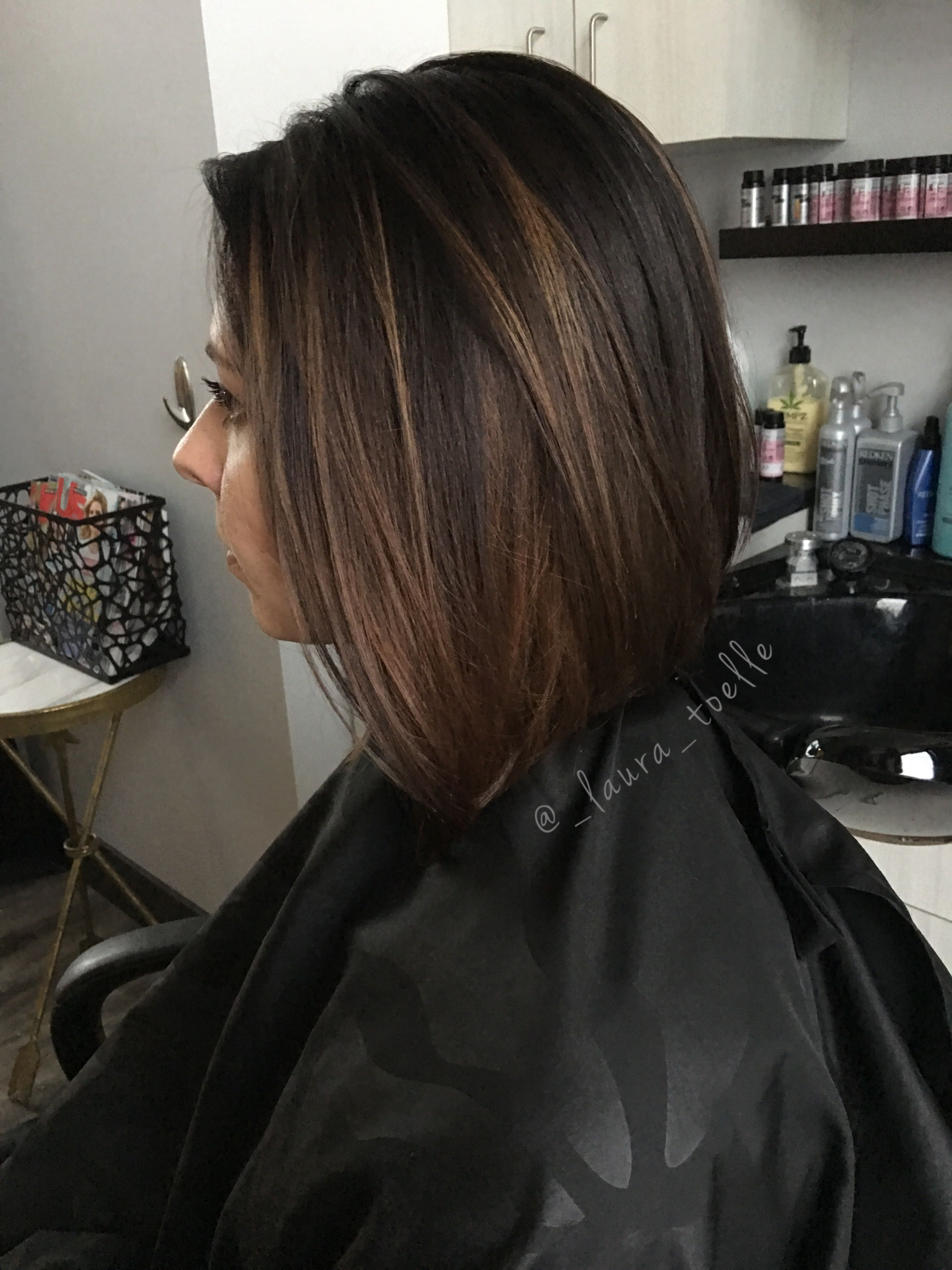 Dark brown hair caramel highlights short lob lkhairstudios