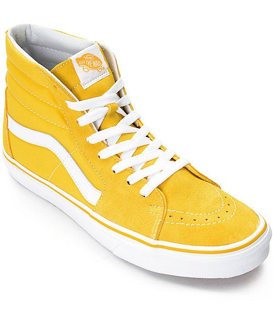 35effee4b79 Vans Sk8-Hi Spectra Yellow   White Skate Shoes in 2019