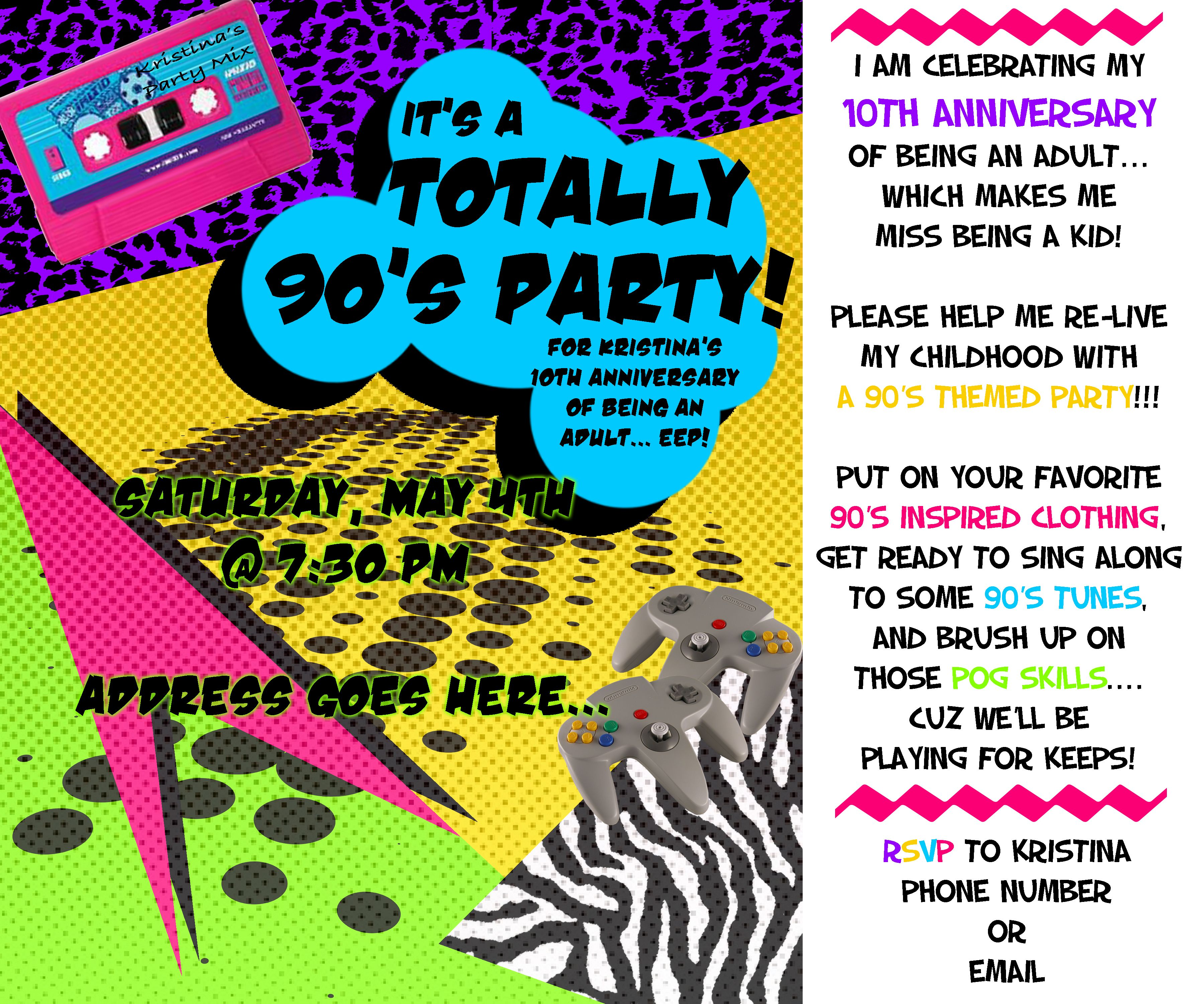 Themed Parties The S Themed Parties S Party And Birthdays - 90s party invitation template