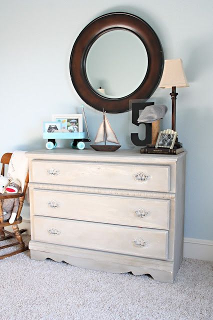 www.ferrytaleshom... Ferry Tales Blog Post: Gray Dresser   #vintage #toddler boy room #chalk paint #gray #dresser #SW sleepy blue