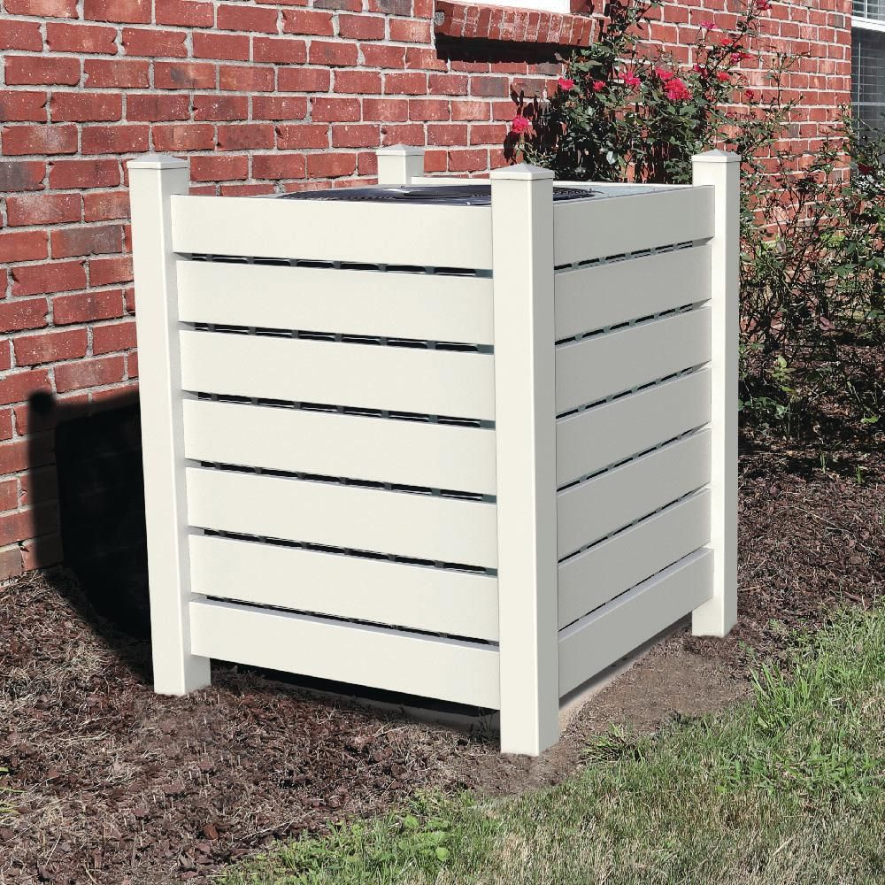 4 Ft X 3 5 Ft White Vinyl Open Enclosure Fence Panel Kit 73042850 The Home Depot Air Conditioner Cover Outdoor Outdoor Trash Cans Pool Equipment Enclosure