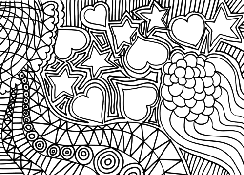 doodle coloring page hearts and stars