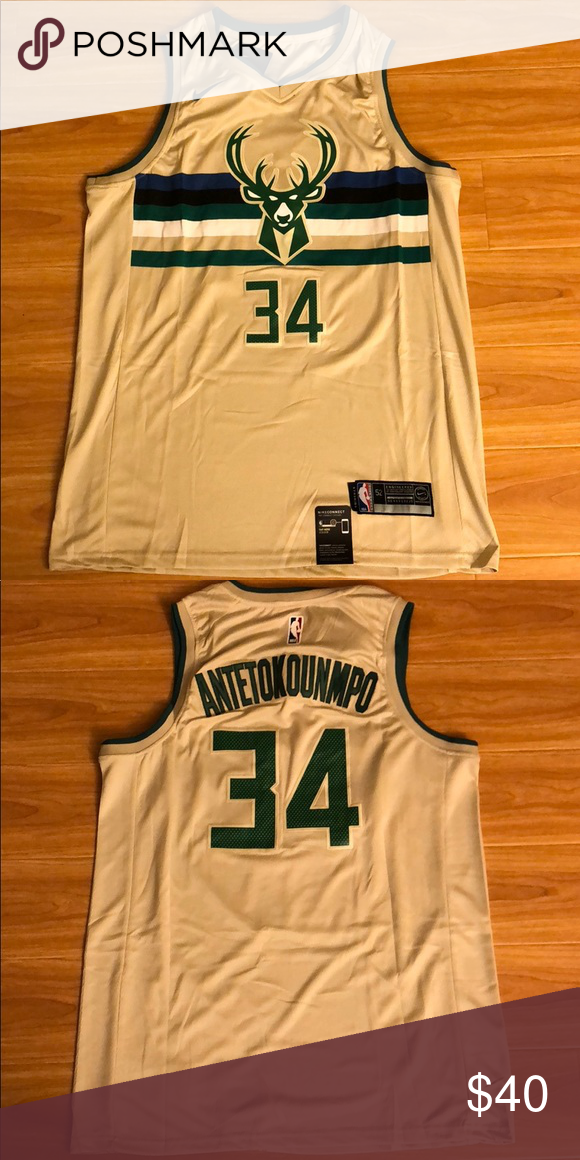 Giannis Antetokounmpo 34 Bucks Cream Jersey Brand New With Tag Giannis Antetokounmpo 34 Milwaukee Bucks Cream City Jersey Nike Shirts Jersey Clothes Design