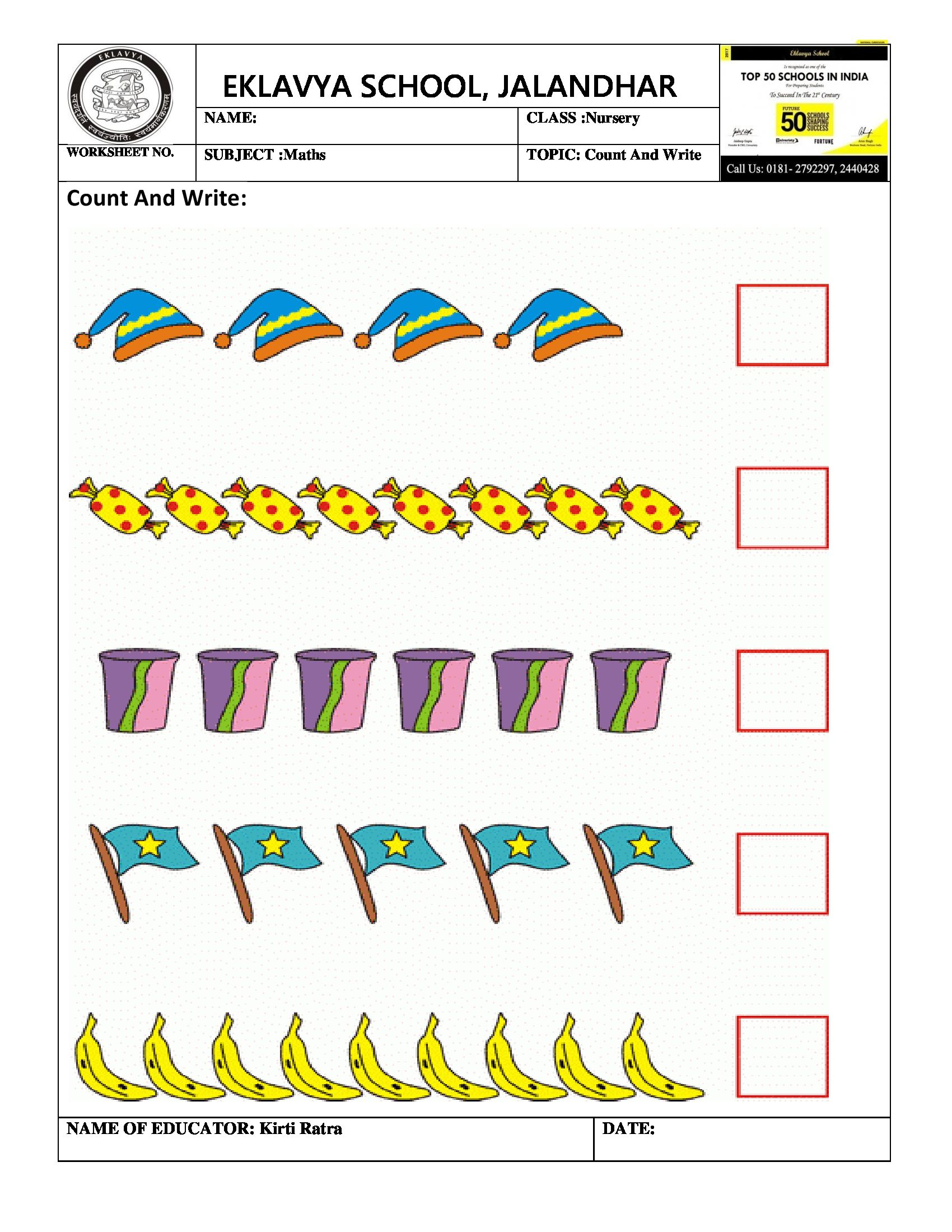 Worksheet Count And Write India School Worksheets Writing Count and write worksheets
