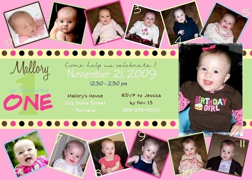 Custom Photo Card Collage, Baby Girl first birthday Invitation ...