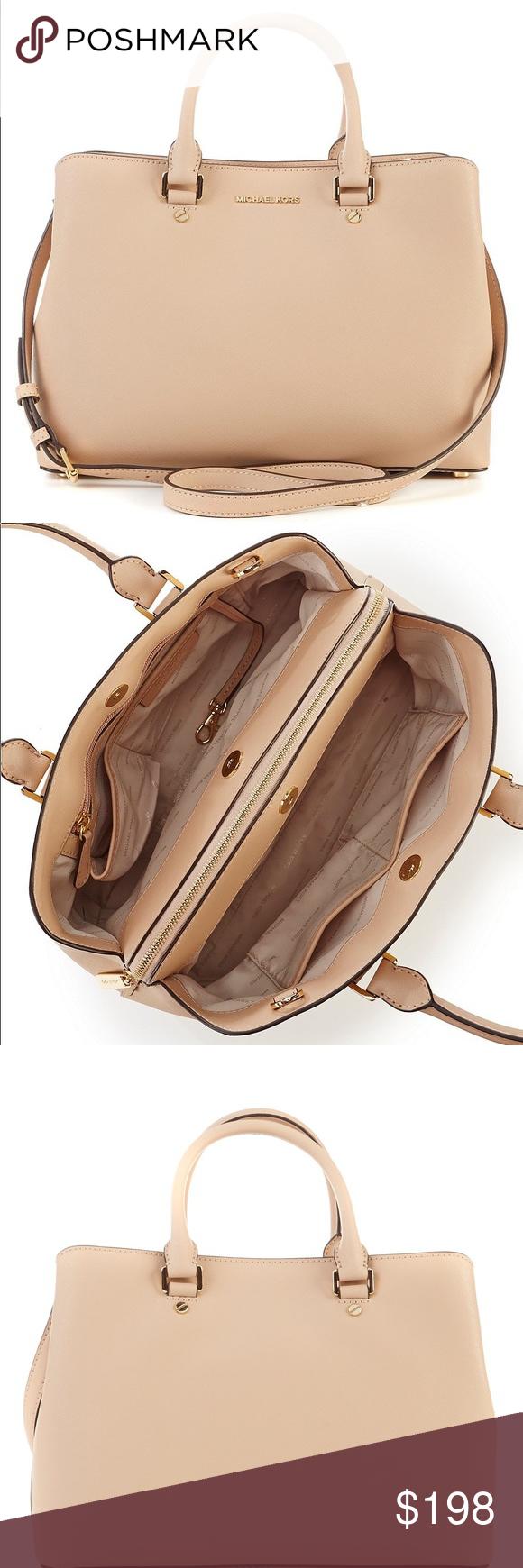 6541fdcfa2712d MICHAEL KORS SAVANNAH LARGE SATCHEL OYSTER MICHAEL Michael Kors, the Savannah  satchel features: saffiano
