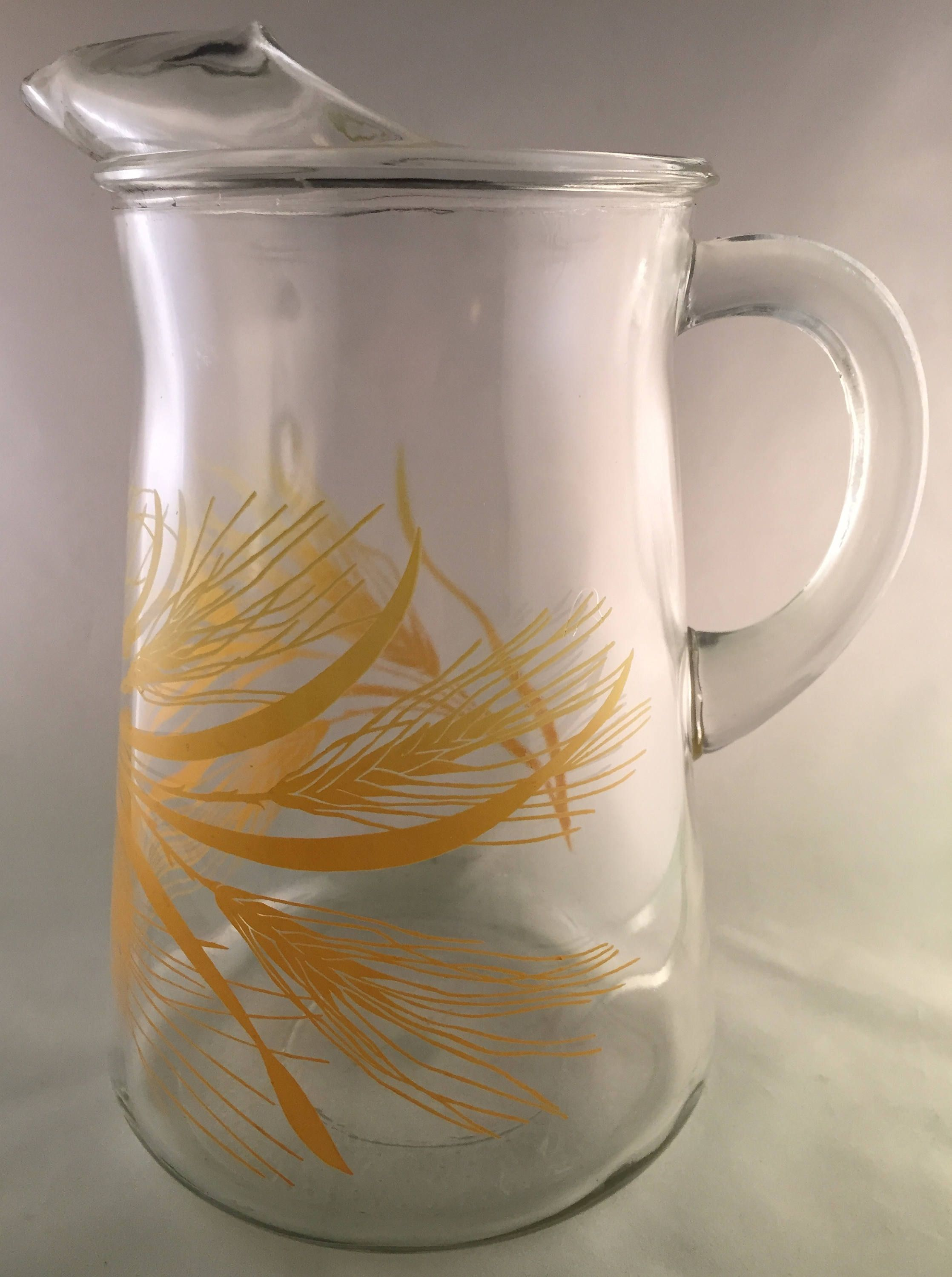 Libbey Glassware Pitcher with Holder Silver Wheat